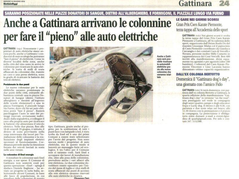 Articolo relativo alle nuove colonnine elettriche a Gattinara
