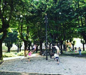 parco della Vita, bimbi che giocano sul nuovo traliccio per arrampicata